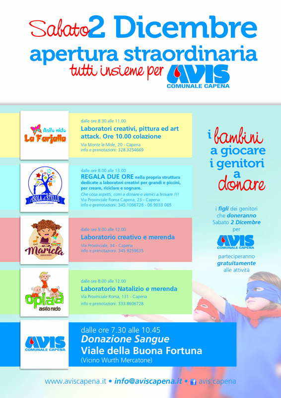 Donazione sangue 2 Dicembre, AVIS Capena