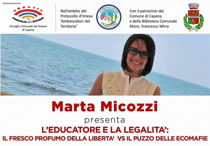 """Marta Micozzi presenta """"L'educatore e la legalità"""""""